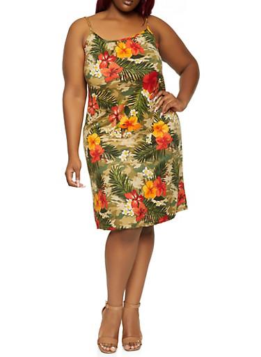Plus Size Tropical Camo Chain Strap Dress,OLIVE,large