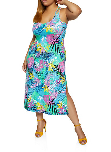 Plus Size Tropical Print Caged Back Dress,TURQUOISE,large