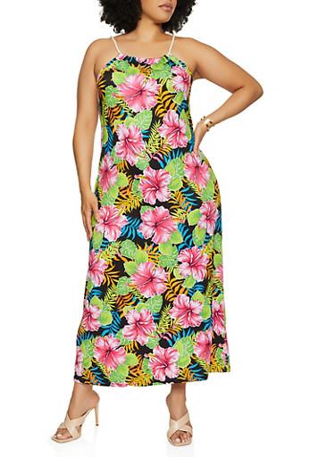Plus Size Floral Rope Strap Maxi Dress,BLACK,large