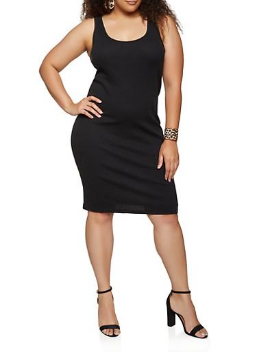 Plus Size Solid Tank Dress,BLACK,large