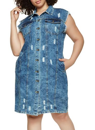 Plus Size Sleeveless Denim Shirt Dress,DENIM,large