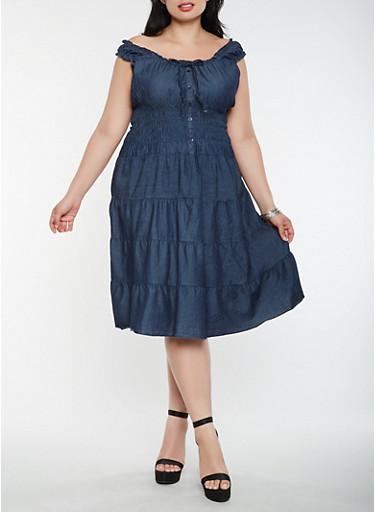 Plus Size Smocked Chambray Skater Dress,DARK WASH,large