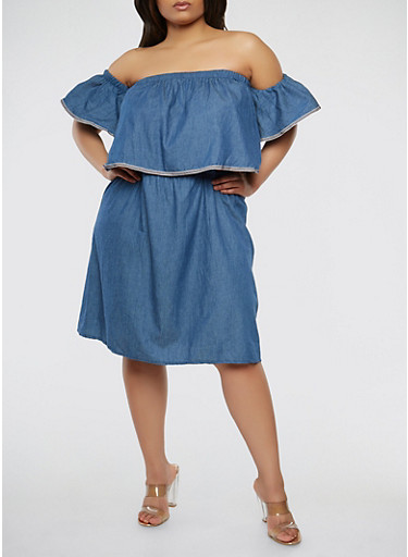 Plus Size Off the Shoulder Chambray Dress,DARK WASH,large