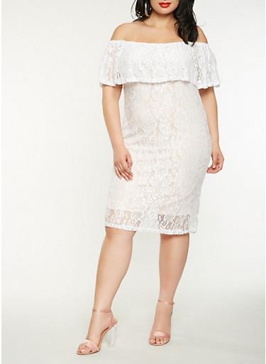 Plus Size Off the Shoulder Lace Dress,WHITE,large