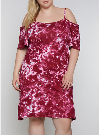 Plus Size Tie Dye Cold Shoulder Dress,BURGUNDY,large