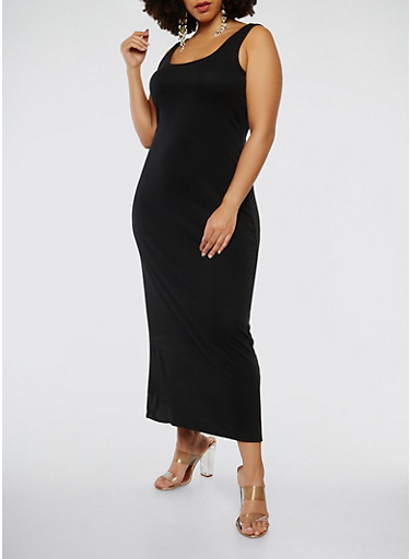 Plus Size Ribbed Knit Tank Maxi Dress,BLACK,large