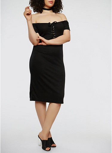 Plus Size Lace Up Off the Shoulder Dress,BLACK,large