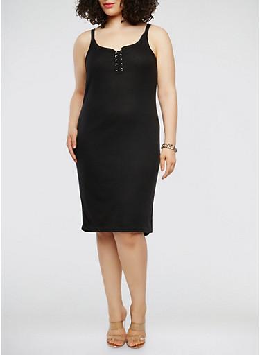 Plus Size Rib Knit Lace Up Tank Dress,BLACK,large