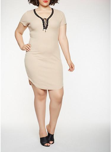 Plus Size Lace Up T Shirt Dress,KHAKI,large