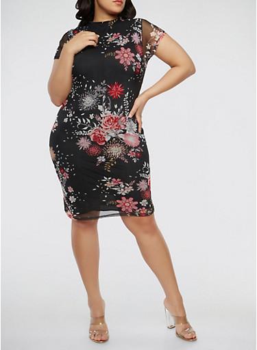 Plus Size Floral Mesh Dress,BLACK,large
