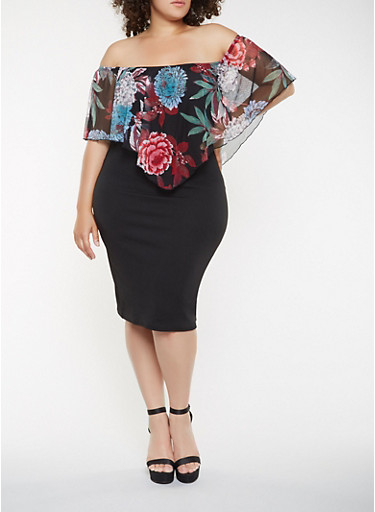 Plus Size Floral Overlay Off the Shoulder Dress,BLACK,large
