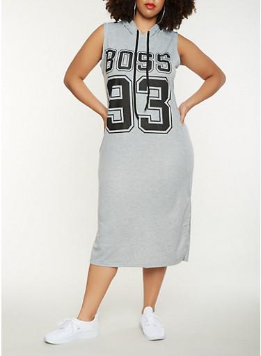 Plus Size Boss Graphic Midi Tank Dress,HEATHER,large