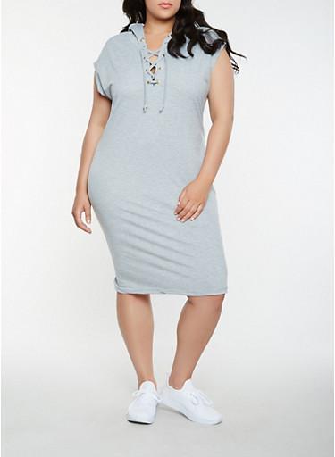 Plus Size Hooded Lace Up Midi Dress,HEATHER,large