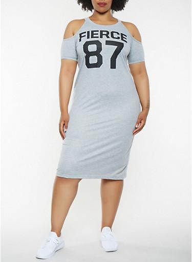 Plus Size Graphic Cold Shoulder Midi Dress,HEATHER,large