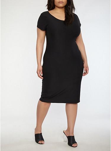 Plus Size Soft Knit T Shirt Dress,BLACK,large