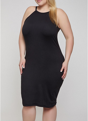 Plus Size Soft Knit Bodycon Midi Dress