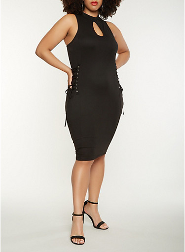 Plus Size Lace Up Side Midi Dress | Tuggl