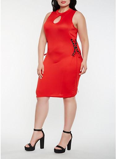 Plus Size Lace Up Side Midi Dress | Tuggl
