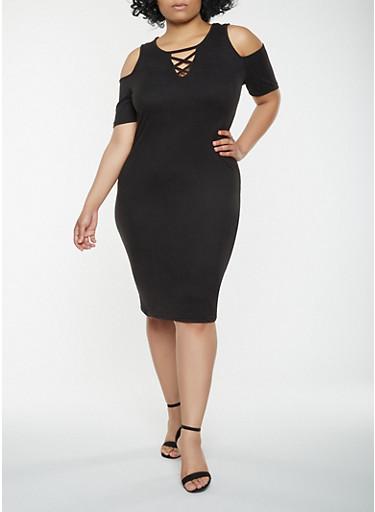 Plus Size Lace Up Cold Shoulder Dress,BLACK,large