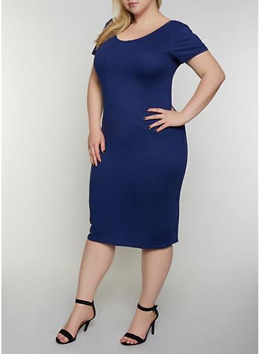 Plus Size Scoop Back Soft Knit Dress,NAVY,large