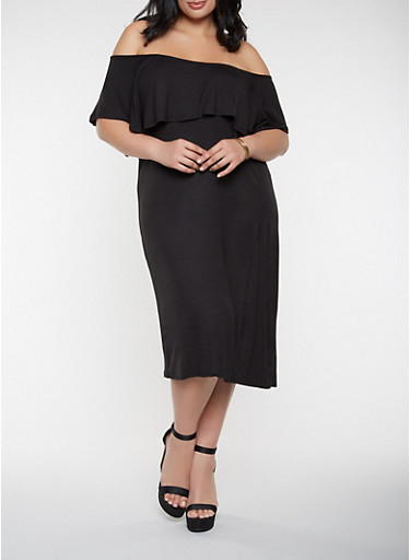Plus Size Ruffled Off the Shoulder Dress,BLACK,large