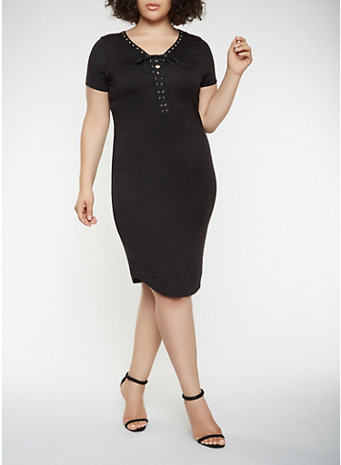 Plus Size Lace Up T Shirt Dress,BLACK,large