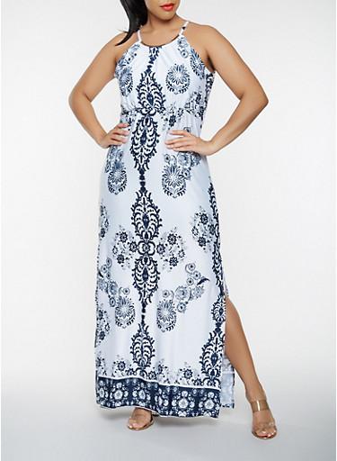 Plus Size Printed Maxi Dress,IVORY,large