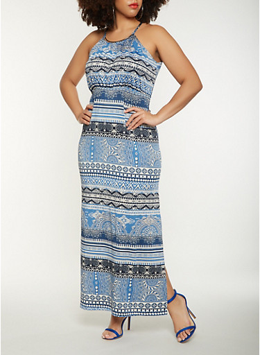 Plus Size Printed Tank Maxi Dress,DENIM,large