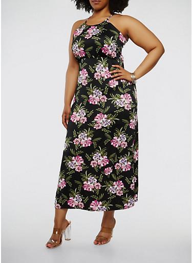 Plus Size Floral Metallic Neckline Maxi Dress,BLACK,large