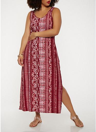 Plus Size Soft Knit Tank Maxi Dress,WINE,large