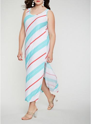 Plus Size Diagonal Striped Tank Maxi Dress,WHITE,large