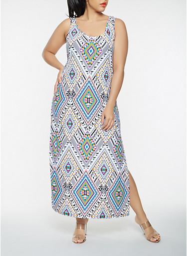 Plus Size Geometric Print Tank Maxi Dress,MULTI COLOR,large