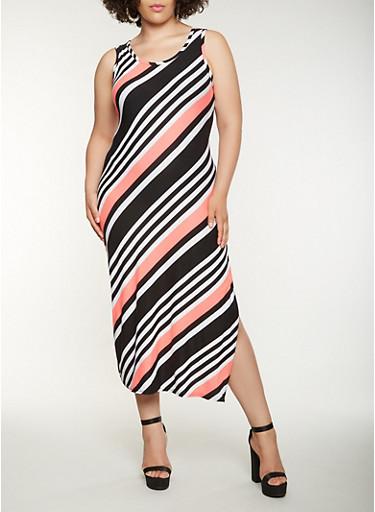 Plus Size Striped Tank Maxi Dress,NEON PINK,large