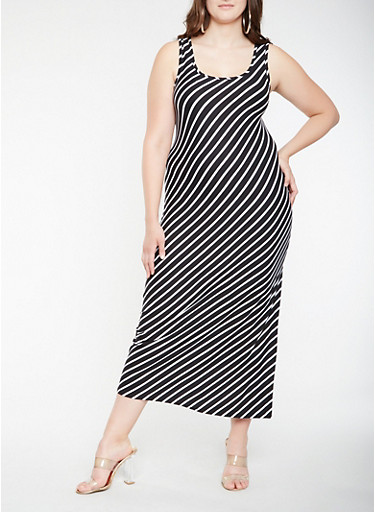 Plus Size Soft Knit Diagonal Stripe Tank Maxi Dress,BLACK,large