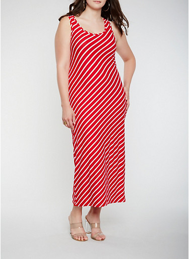 Plus Size Soft Knit Diagonal Stripe Tank Maxi Dress | Tuggl