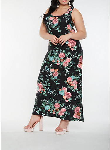 Plus Size Floral Tank Maxi Dress | Tuggl