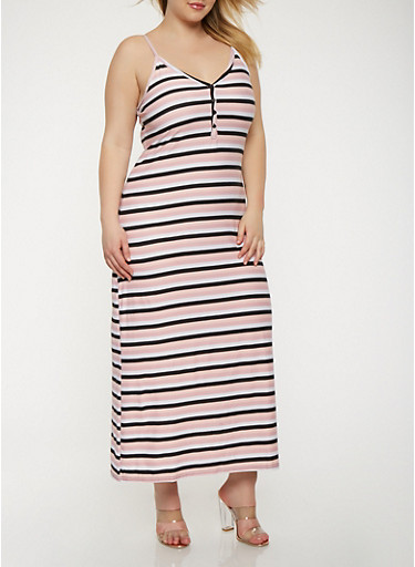 Plus Size Striped Tank Maxi Dress,WHT-BLK,large