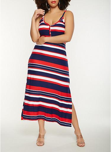 Plus Size Striped Tank Maxi Dress,NAVY,large