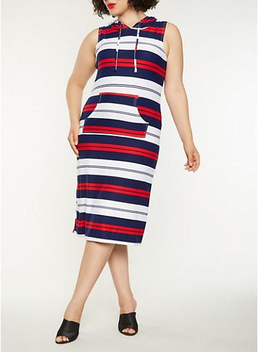 Plus Size Americana Striped Midi Tank Dress,NAVY,large