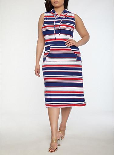 Plus Size Soft Knit Striped Maxi Dress,WHITE,large