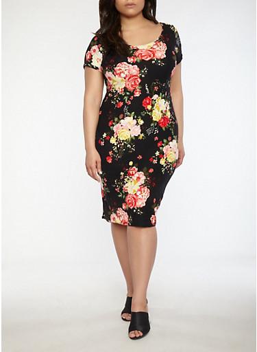 Plus Size Soft Knit Floral Dress,BLACK,large