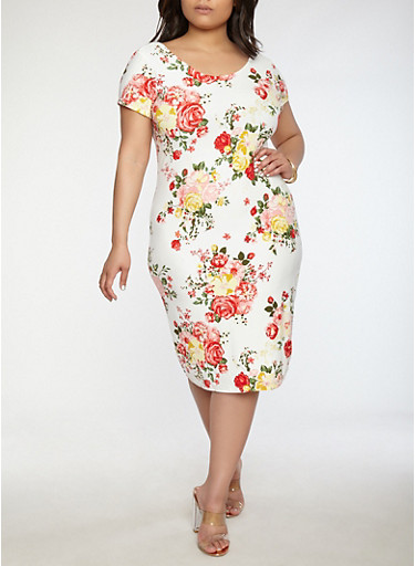 Plus Size Soft Knit Floral Dress | Tuggl