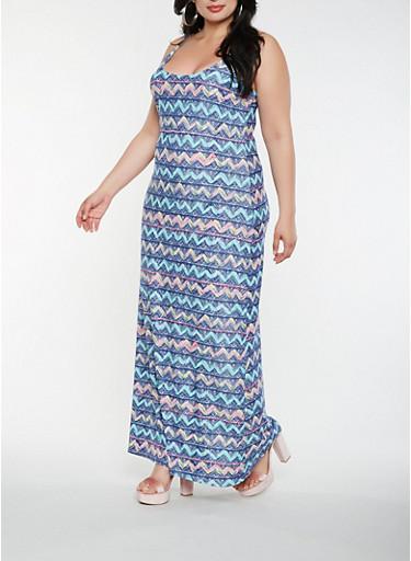 Plus Size Printed Tank Maxi Dress | Tuggl