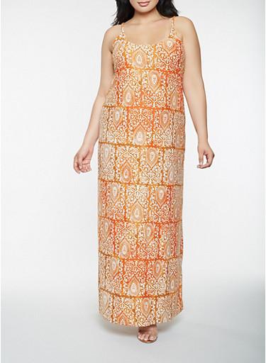 Plus Size Printed Tank Maxi Dress,RUST,large