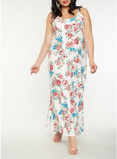 Plus Size Floral Tank Maxi Dress,IVORY,large