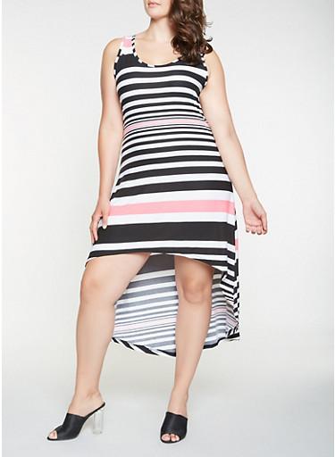Plus Size Striped High Low Tank Dress,BLACK,large