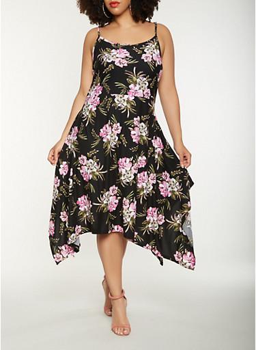 Plus Size Floral Tank Skater Dress,BLACK,large