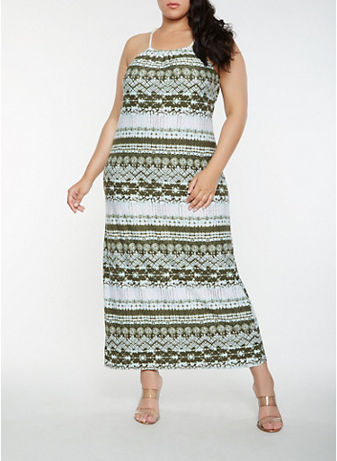 Plus Size Printed Tank Maxi Dress,OLIVE,large