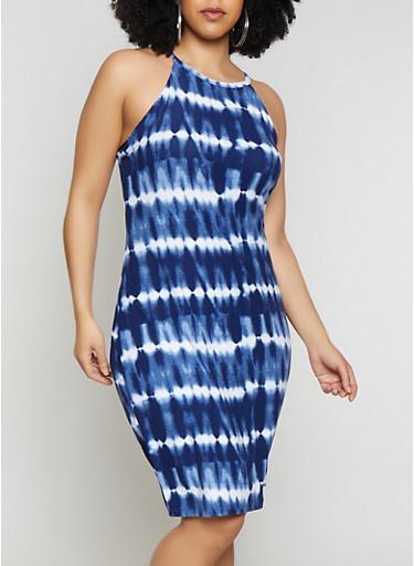 Plus Size Tie Dye High Neck Tank Dress,NAVY,large