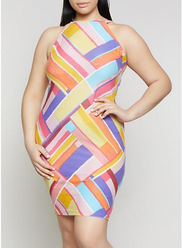 Plus Size Soft Knit Multi Color Tank Dress,WHITE,large